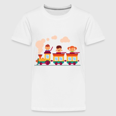 Childrens Games children on the railway - Kids' Premium T-Shirt