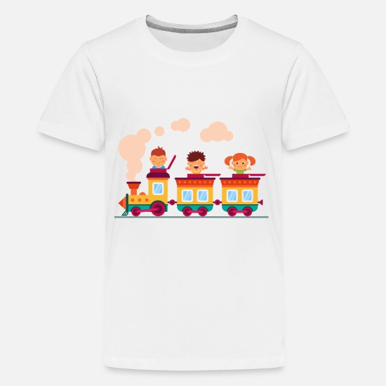 Baby T-Shirts - children on the railway - Kids' Premium T-Shirt white