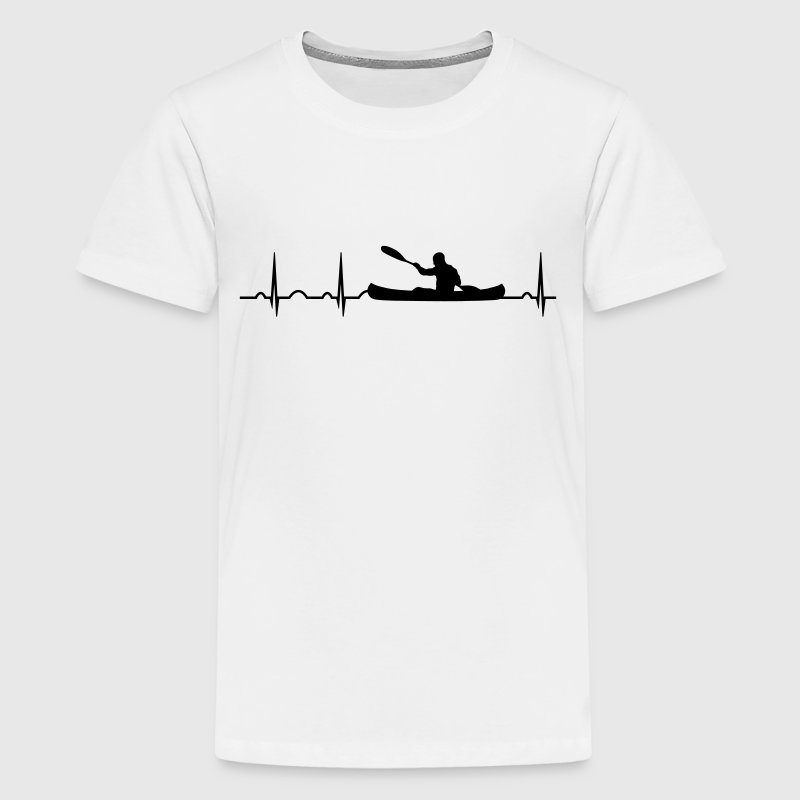 paddle heartbeat canoe canoeing water sport Kayak - Kids' Premium T-Shirt