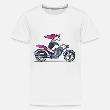 Badass Unicorn Badass Unicorn on a motorcycle - Kids' Premium T-Shirt