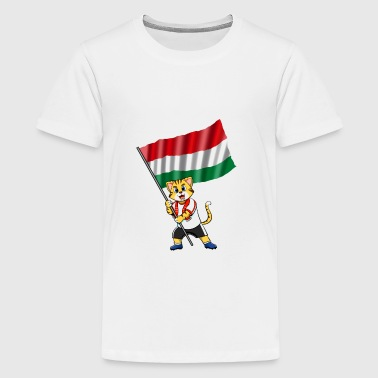 Hungary fan cat - Kids' Premium T-Shirt
