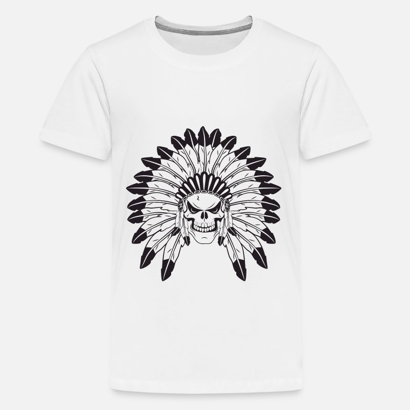 Native American T-Shirts - Indian Skull Chief - Kids' Premium T-Shirt white