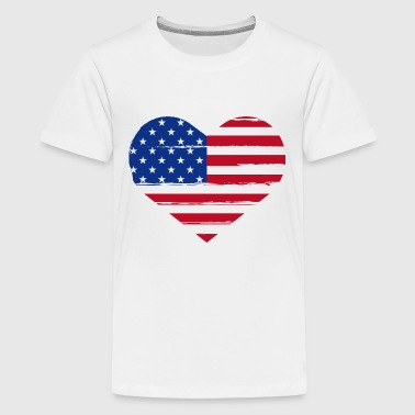 American Flag 4th of july Heart - Kids' Premium T-Shirt