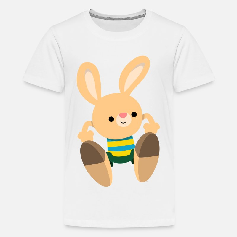 Collection For Kids T-Shirts - Cute Leaping Cartoon Rabbit by Cheerful Madness!! - Kids' Premium T-Shirt white