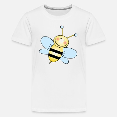 Bumble Bee Cartoon Bumble Bee with Blue Wings - Kids' Premium T-Shirt