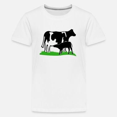 Cattle Calf cow and calf black - Kids' Premium T-Shirt