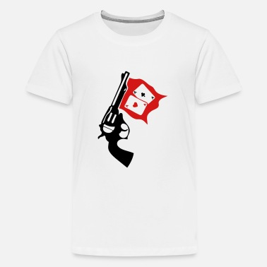 Gun Poker gun weapon revolver bang poker ace - Kids' Premium T-Shirt