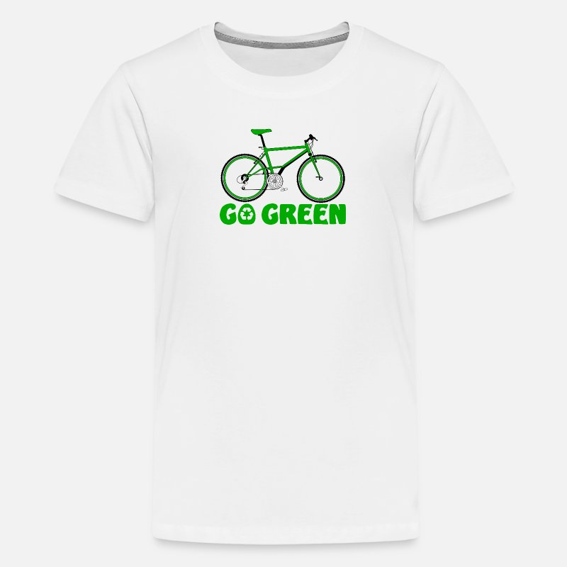 Recycling T-Shirts - Go Green Earth Day Bike - Kids' Premium T-Shirt white