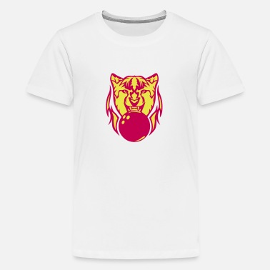 Cheetah Logo bowling cheetah cartoon face logo 1 - Kids' Premium T-Shirt