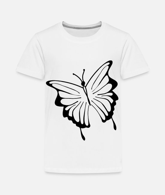 Drawing T-Shirts - butterfly tatoo silhouette black - Kids' Premium T-Shirt white