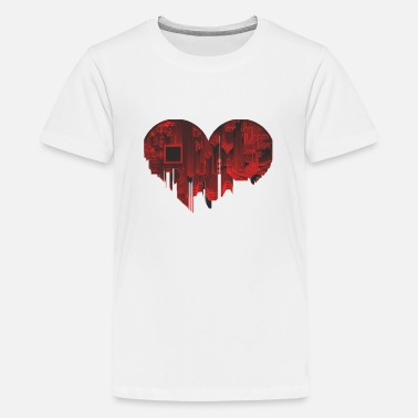 Pixel Digital Love Love Heart for Nerds or Pixel mothers - Kids' Premium T-Shirt