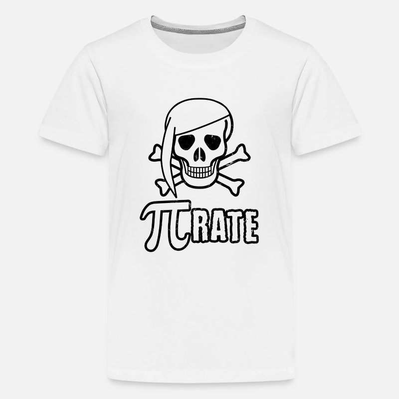 Maths T-Shirts - Pi-rate Pirate Skull Sign Gift - Kids' Premium T-Shirt white
