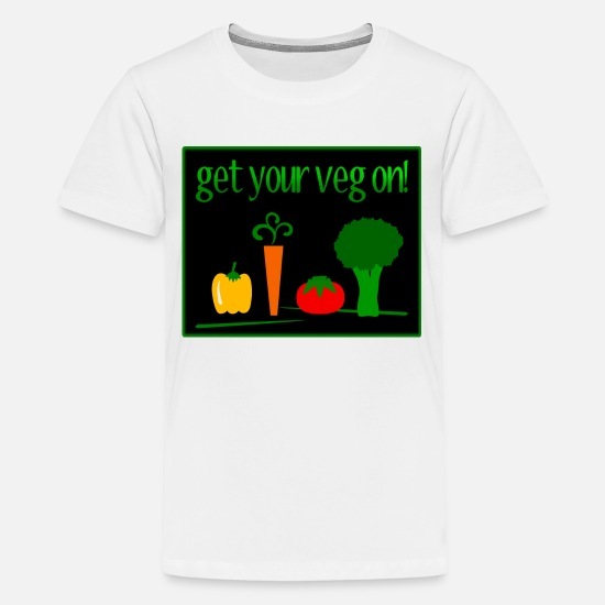 Digital T-Shirts - Get Your Veg On! With 4 Veggies--DIGITAL DIRECT - Kids' Premium T-Shirt white