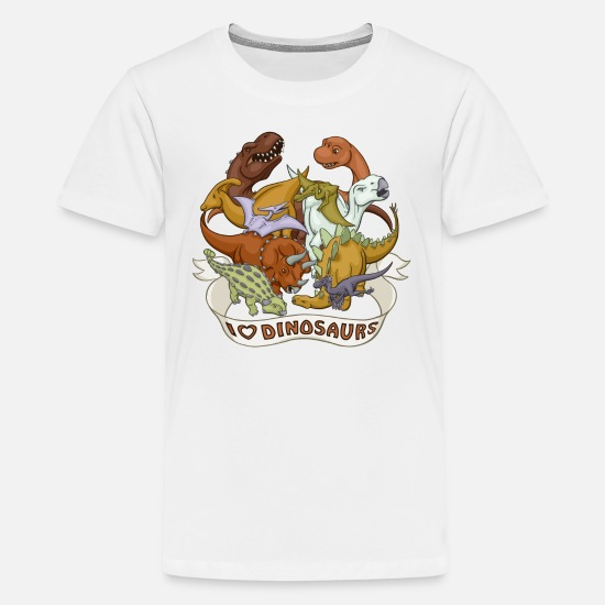 Babyproducts T-Shirts - I Heart Dinosaurs - Kids' Premium T-Shirt white