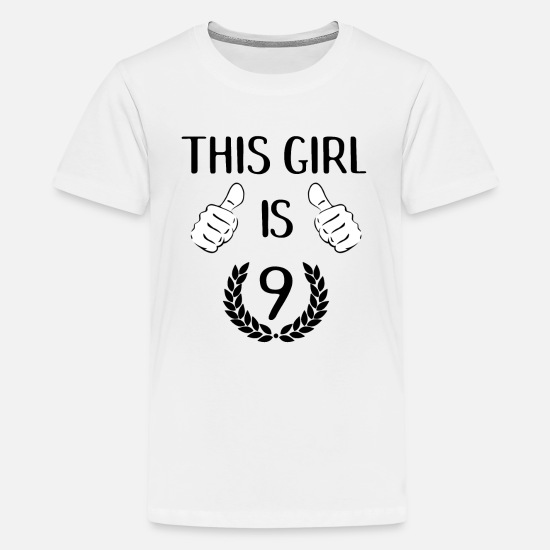 Kids Premium T ShirtThis Girl Is Nine 9 Years Old Birthday Gift Idea