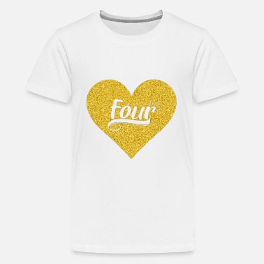 Birthday 4Kid 4th Heart Gold Shirt