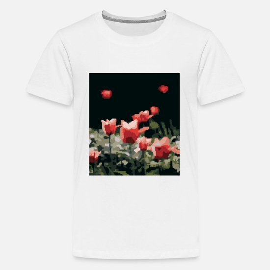 Digital T-Shirts - Red roses in pixel art style. - Kids' Premium T-Shirt white