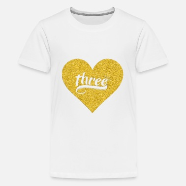 3 Year Old Birthday 3Kid 3rd Heart Gold Shirt