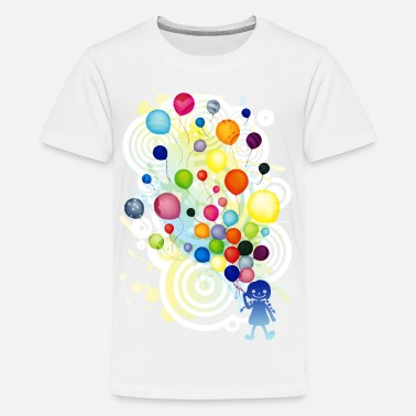 Girl_With_Colorful_Balloo - Kids' Premium T-Shirt