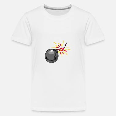 Black Black Ball Bomb Burning Fuse Drawing - Kids' Premium T-Shirt