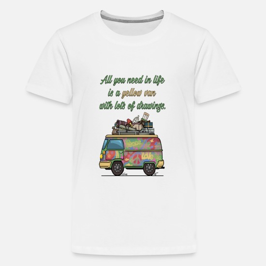 Van T-Shirts - All You Need Is A Yellow Van Graphic Hippie - Kids' Premium T-Shirt white