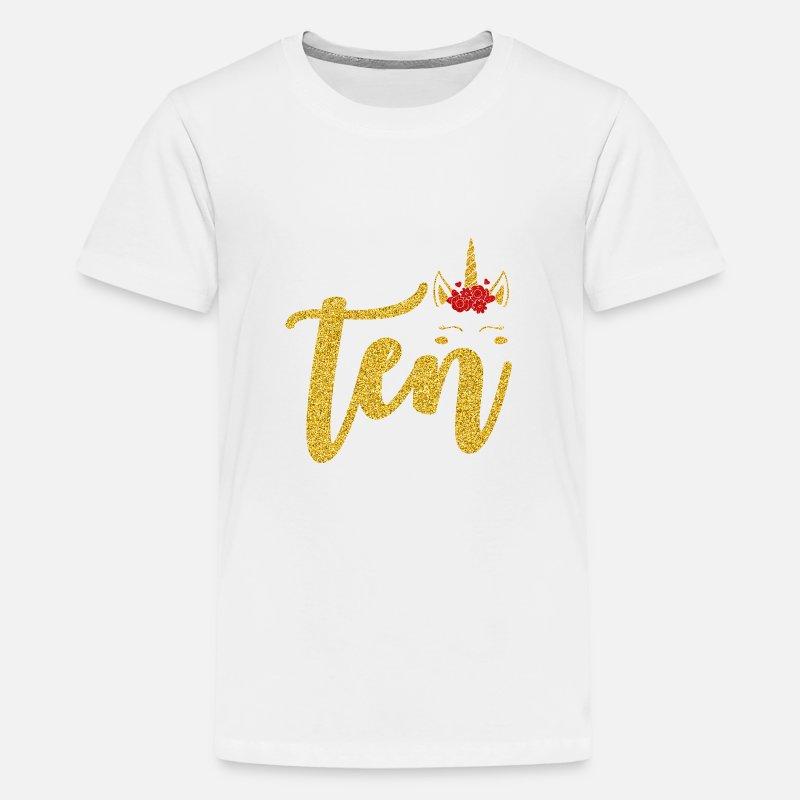 Kids Premium T ShirtGold Unicorn Girls 10th Birthday Shirt