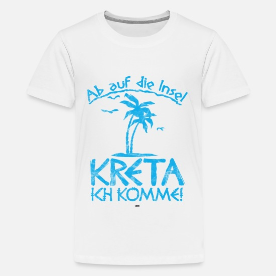 Group T-Shirts - COOL GREECE CRETE MEDITERRANEAN SUN PALM TREES - Kids' Premium T-Shirt white