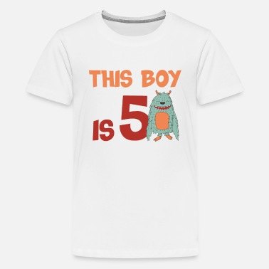 Age boy 5 years birthday gift monster cool - Kids' Premium T-Shirt