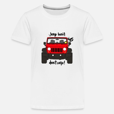 Care Jeep Hair Don't Care - Red Jeep - Kids' Premium T-Shirt