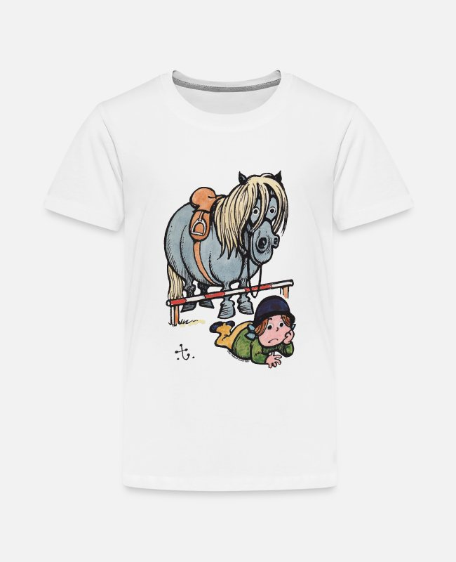 Drawing T-Shirts - Thelwell Funny Showjumping Gone Wrong - Kids' Premium T-Shirt white