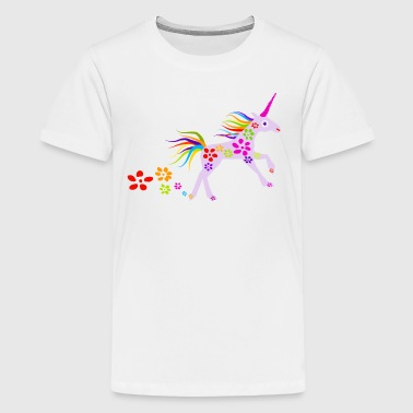 RAINBOW FLOWERS UNICORN VECTOR ILLUSTRATION - Kids' Premium T-Shirt