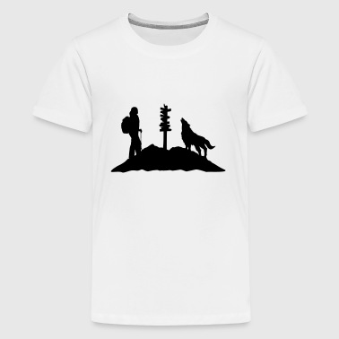 Hiking woman, wolf & mountain - Kids' Premium T-Shirt