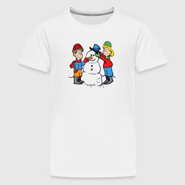 Cartoon Snowman - Kids' Premium T-Shirt