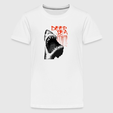 Shark predator Deep sea monster vector cartoon art - Kids' Premium T-Shirt