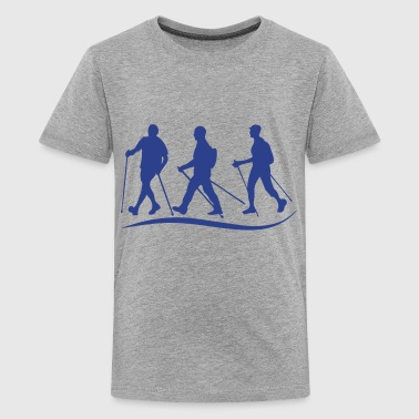 nordic walking stick before logo - Kids' Premium T-Shirt