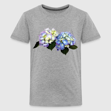 Pale Pink And Blue Hydrangea - Kids' Premium T-Shirt