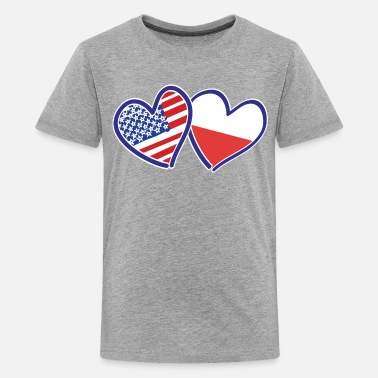 Polish Flag USA-POLISH-FLAG-HEARTS - Kids' Premium T-Shirt