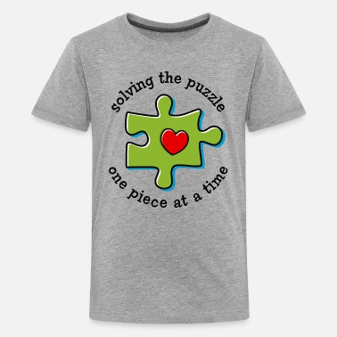 Asd - Autism Puzzle Piece Heart Solving The Puzzle - Kids' Premium T-Shirt