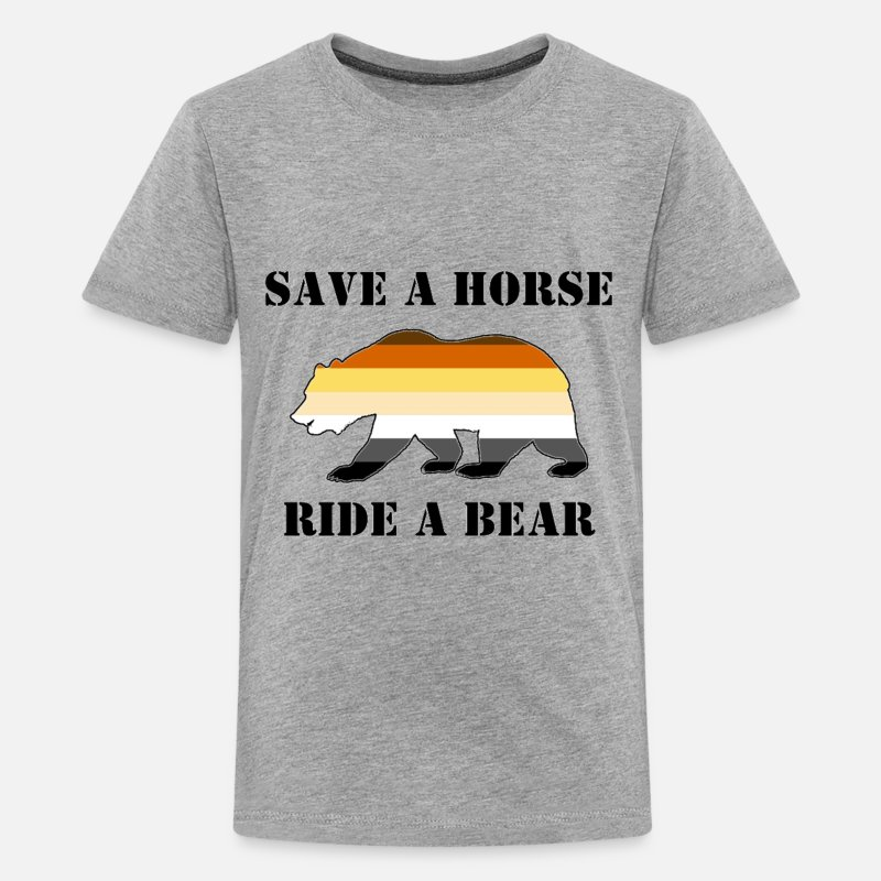 Bear T-Shirts - Gay Bear Pride Save a Horse ride a Bear - Kids' Premium T-Shirt heather gray