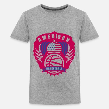 Basketball Logo With Wings basketball wing logo flag usa state - Kids' Premium T-Shirt