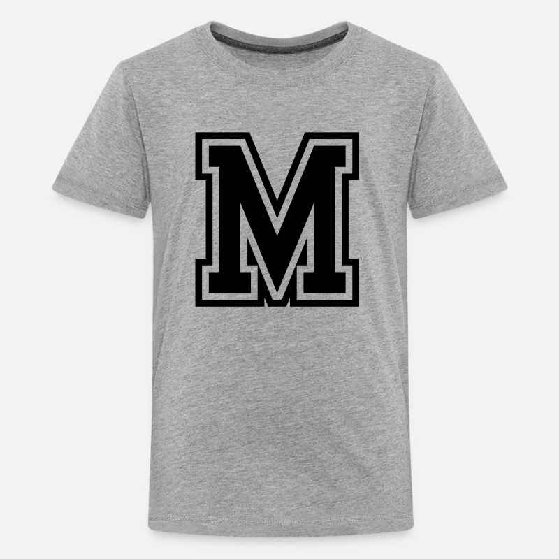 Letter T-Shirts - Letter M Monogram Initial College - Kids' Premium T-Shirt heather gray