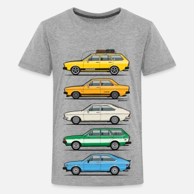 70s Stack of VAG B1 VDubs and Four Rings - Kids' Premium T-Shirt