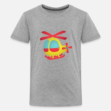 Yellow Kids red and yellow cute helicopter for kids - Kids' Premium T-Shirt