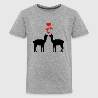 Kissing Llama - Kids' Premium T-Shirt