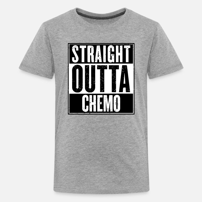 Funny T-Shirts - Straight Outta Chemo - Kids' Premium T-Shirt heather gray