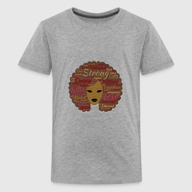 African American Leaders Afro Word Art Black History Month Natural Hair - Kids' Premium T-Shirt
