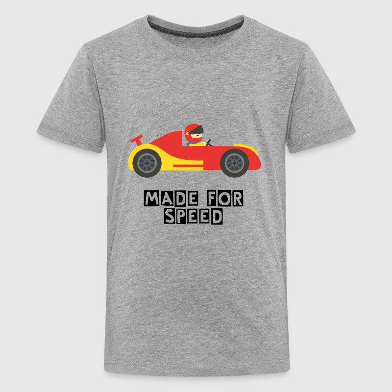 cute red and yellow race car with driver - Kids' Premium T-Shirt