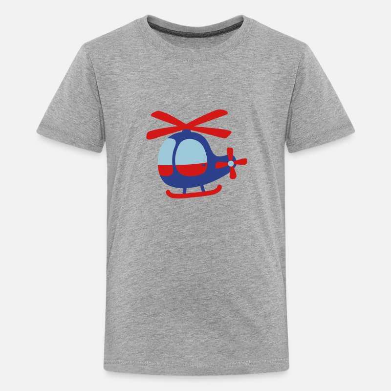 Aviation T-Shirts - cute helicopter for kids - Kids' Premium T-Shirt heather gray