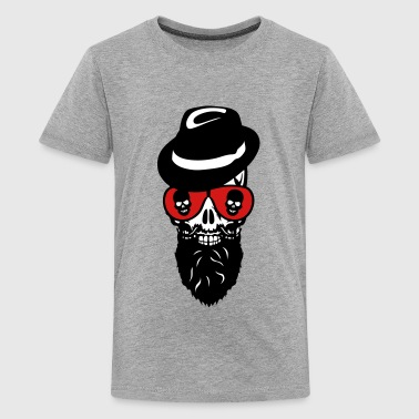 Death head skull cap hat beard beard 8 - Kids' Premium T-Shirt
