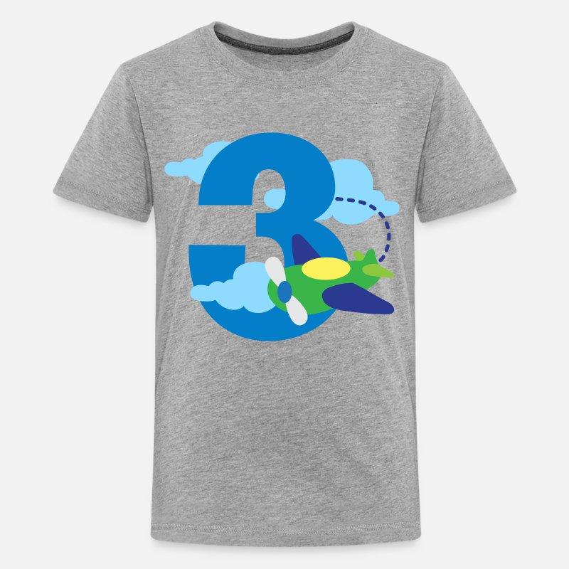 3rd Birthday Airplane Boys 3 Year Old Kids Premium T Shirt